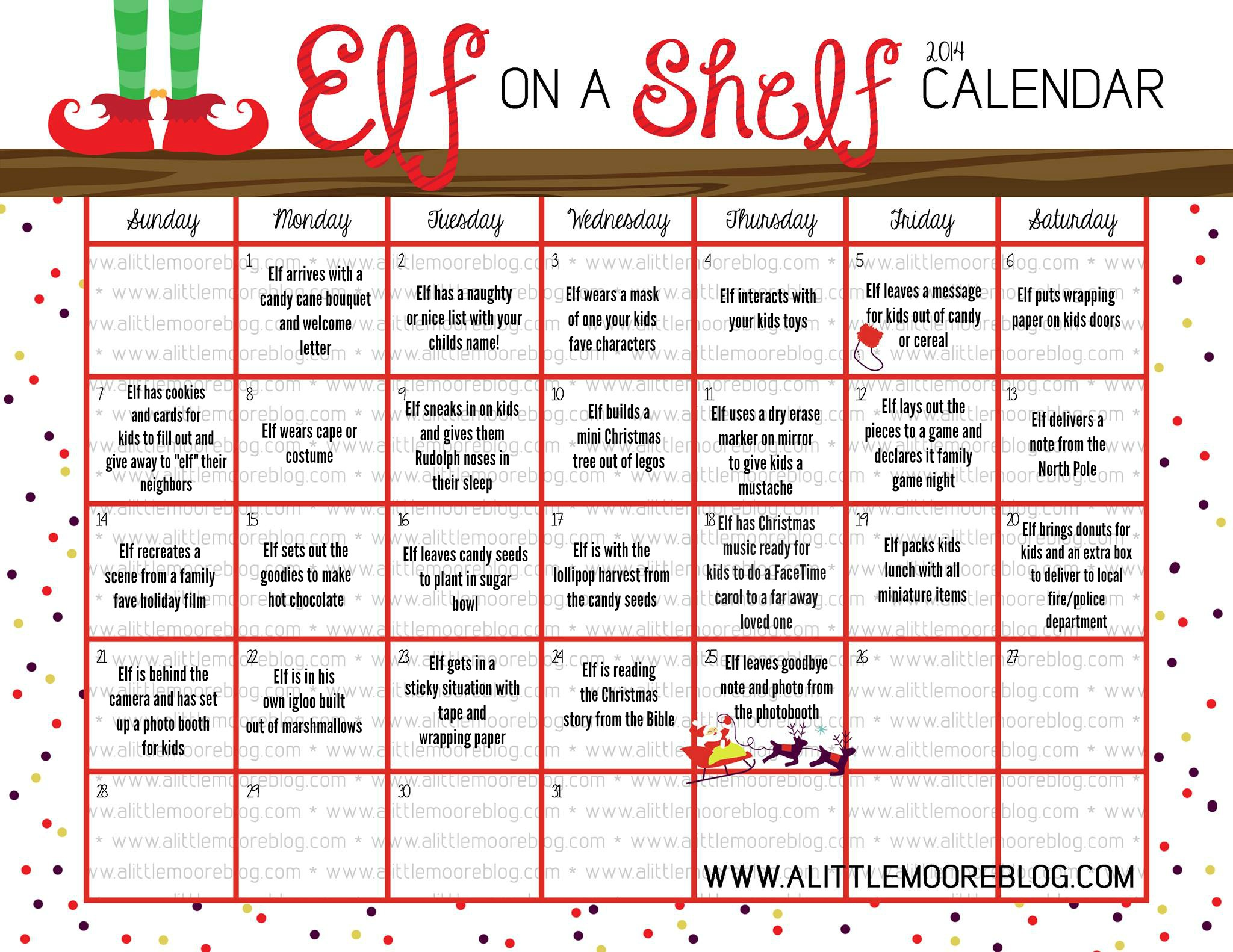 Elf On The Shelf 2014 Calendar A Little Moore