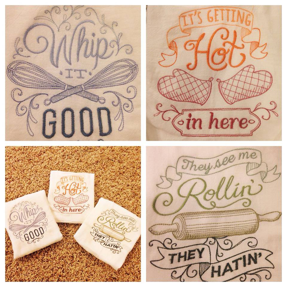 Embroidered Kitchen Towels - A Little Moore